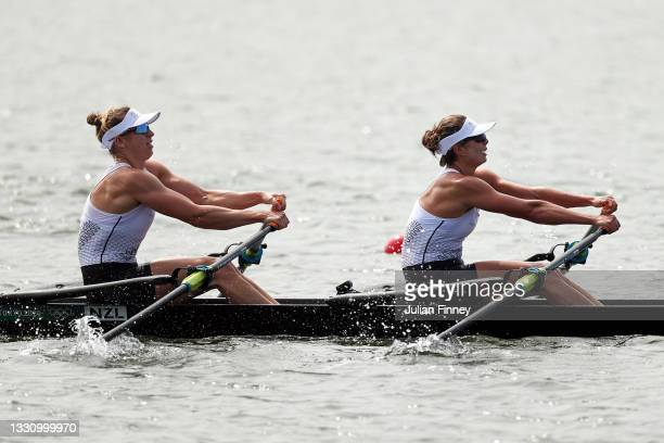 Brooke Donoghue and Hannah Osborne of Team New Zealand compete during the Women's Double Sculls Final A on day five of the Tokyo 2020 Olympic Games...
