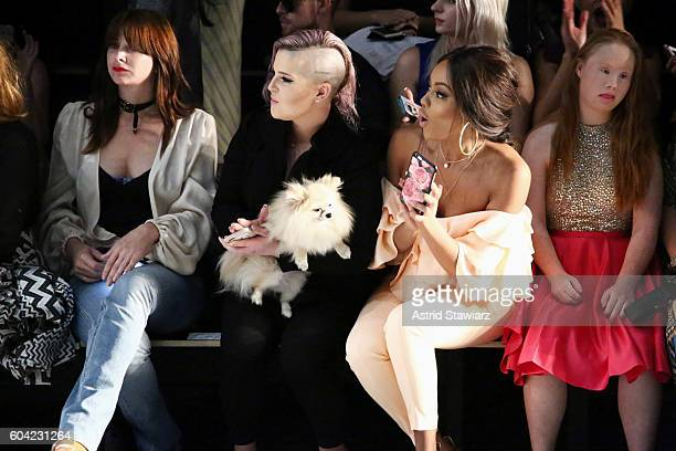 Brooke Dulien Kelly Osbourne Bonang Matheba and Madeline Stuart attend the John Paul Ataker fashion show during New York Fashion Week The Shows at...
