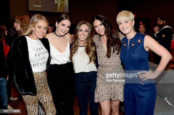 Brooke Eden Hannah Ellis Tara Thompson Kelleigh Bannen and Maggie Rose take photos during the 2018 CMT Next Women of Country event at City Winery...