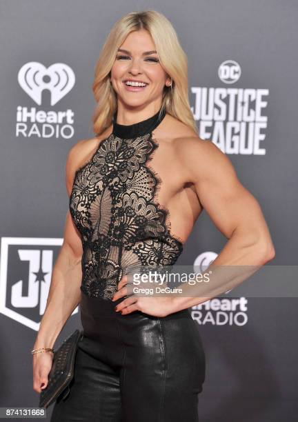 """Brooke Ence arrives at the premiere of Warner Bros. Pictures' """"Justice League"""" at Dolby Theatre on November 13, 2017 in Hollywood, California."""