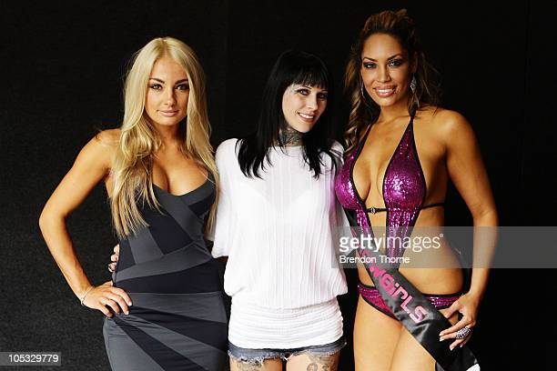 Brooke Evers Michelle Bombshell McGee and Jewell pose at the Sexpo 2010 Launch at the Hordern Pavilion on October 14 2010 in Sydney Australia