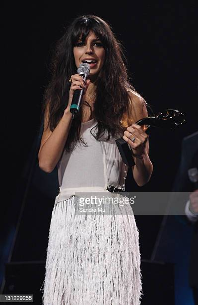 Brooke Fraser accepts her award during the 2011 Vodafone Music Awards at Vector Arena on November 3 2011 in Auckland New Zealand