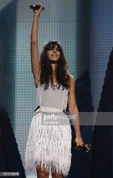 Brooke Fraser accepts the award for Highest selling album during the 2011 Vodafone Music Awards at Vector Arena on November 3 2011 in Auckland New...