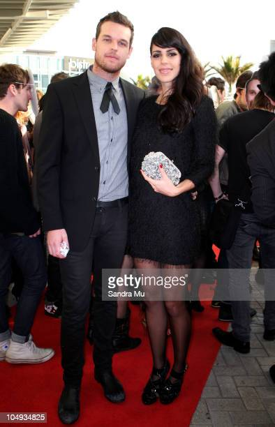 Brooke Fraser and her husband Scott Ligertwood arrive for the 2010 Vodafone Music Awards at Vector Arena on October 7 2010 in Auckland New Zealand