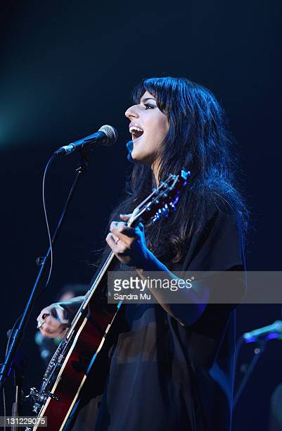 Brooke Fraser performs on stage during the 2011 Vodafone Music Awards at Vector Arena on November 3 2011 in Auckland New Zealand