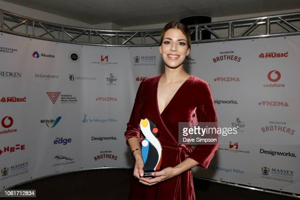 Brooke Fraser poses with her International Achievement Award at the 2018 Vodafone New Zealand Music Awards at Spark Arena on November 15 2018 in...