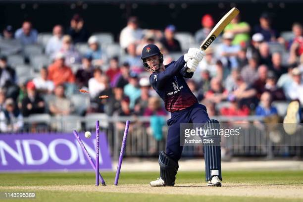Brooke Guest of Lancashire is bowled by Wayne Parnell by Worcestershire during the Royal London One Day Cup match between Lancashire and...