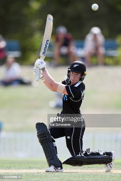 Brooke Halliday of New Zealand bats during game one of the One Day International series between New Zealand and England at Hagley Oval on February...