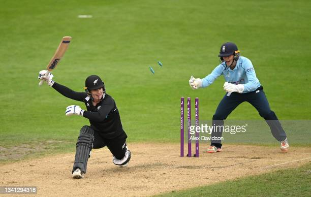 Brooke Halliday of New Zealand is stumped by Amy Jones of England during the 2nd One Day International match between England and New Zealand at New...