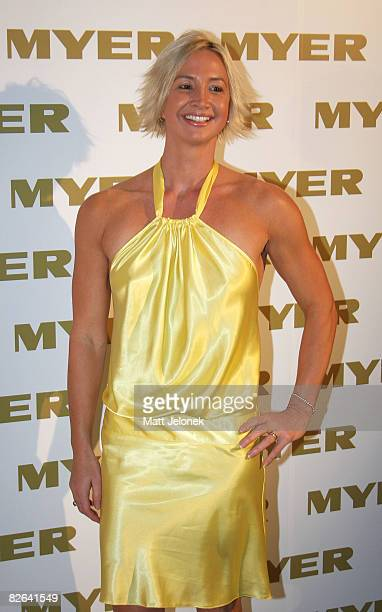 Brooke Hanson arrives for the official cocktail launch party for the Myer Spring Racing fashion range at The Deck Prince Hotel on September 3 2008 in...