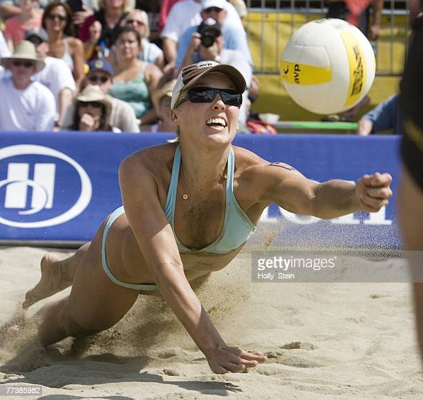 Brooke Hanson digs the ball during the women's main draw against Barbra Fontana and Dianne DeNecochea in the AVP San Francisco Best of the Beach at...