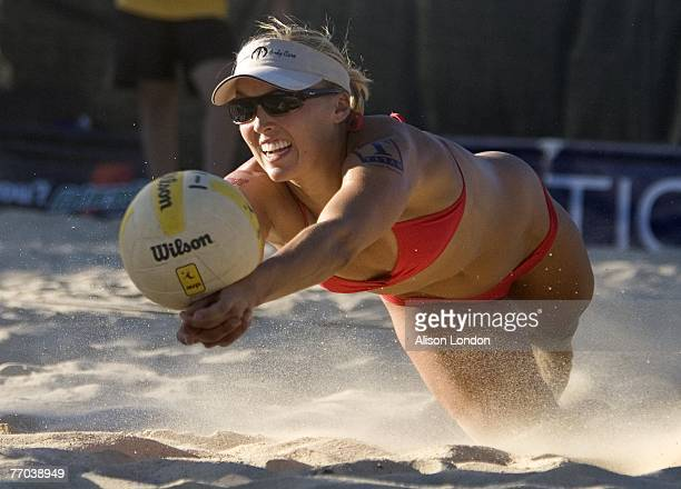 Brooke Hanson digs the ball during the women's main draw against Holly McPeak and Jennifer Fopma in the AVP Pringles Smart Flavors Cincinnati Open at...
