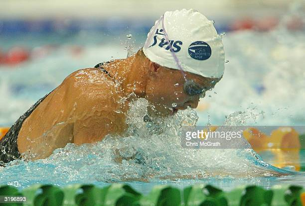 Brooke Hanson in action in the Women's 50 metre breaststroke semi final during finals on day seven of the 2004 Telstra Olympic Team Swimming Trials...