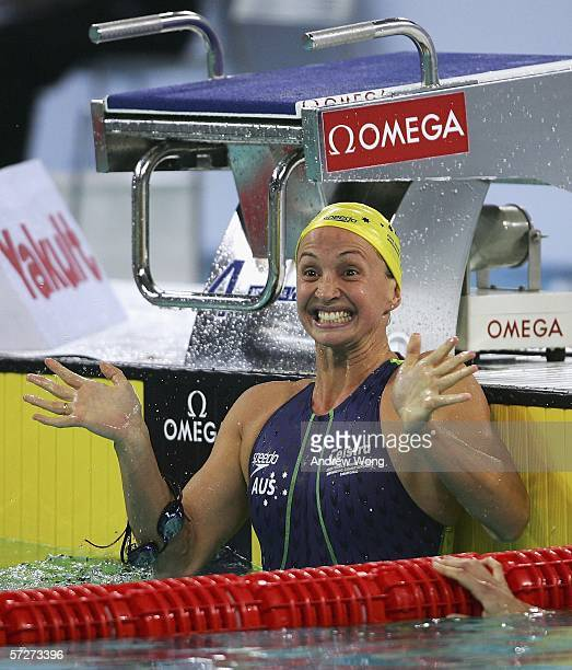 Brooke Hanson of Australia celebrates after winning the women's 100m individual medley final at the FINA World Swimming Championships on April 7 2006...
