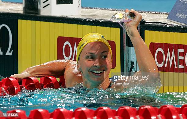 Brooke Hanson of Australia celebrates gold in the Women's 50m Breastroke final during the FINA World Swimming Championships on October 8 2004 at the...