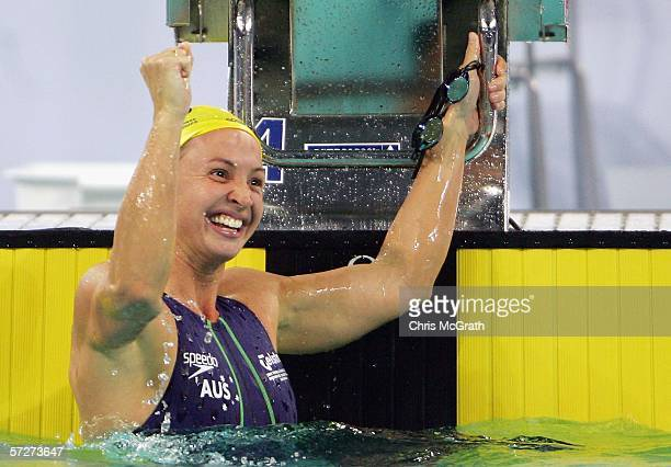 Brooke Hanson of Australia celebrates winning gold in the Women's 100m individual medley during day three of the FINA World Swimming Championships...