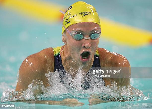 Brooke Hanson of Australia competes in the Women's 200m individual medley heats during day four of the FINA World Swimming Championships held at Qi...