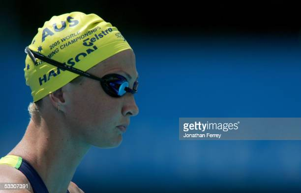 Brooke Hanson of Australia prepaers to swim the breaststroke leg of the 4x100 meter Medley relay preliminary heats during the XI FINA World...