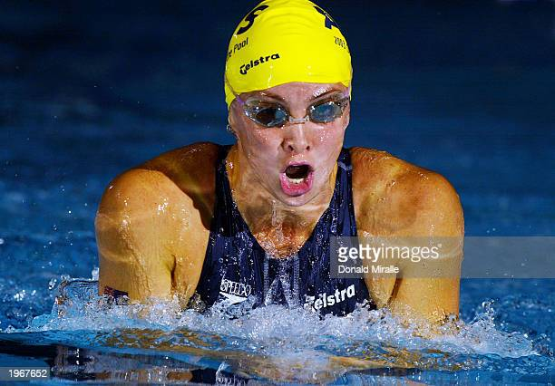 Brooke Hanson of Australia swims in the Women's 200M Breaststroke during the Duel in the Pool Australia vs USA at the IU Natatorium on April 6 2003...