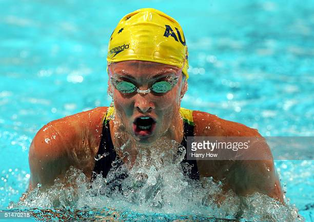 Brooke Hanson of Australia swims to a gold medal in the Women's 200m Breaststroke final during the FINA World Swimming Championships on October 11...