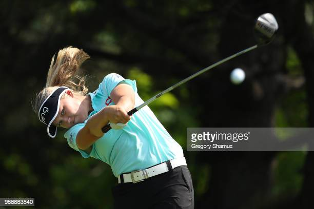 Brooke Henderson hits her drive on the second hole during the final round of the 2018 KPMG PGA Championship at Kemper Lakes Golf Club on July 1 2018...