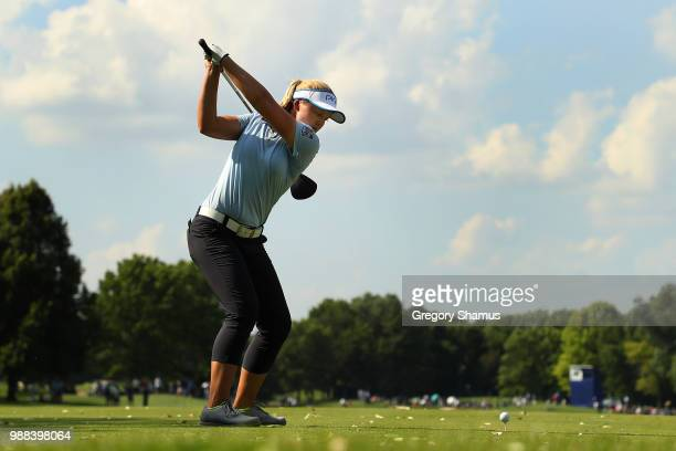 Brooke Henderson hits her tee shot on the 16th hole during the final round of the 2018 KPMG PGA Championship at Kemper Lakes Golf Club on June 30...