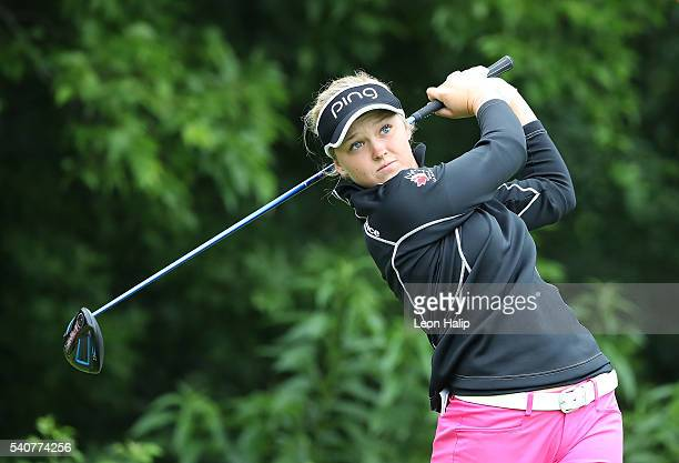 Brooke Henderson hits her tee shot on the 9th hole during the first round of the Meijer LPGA Classic on June 16 2016 at the Blythefield Country Club...