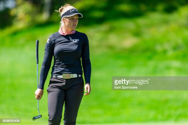 Brooke Henderson looks over the green before her putt on the 12th hole during the first round of the Canadian Pacific Women's Open on August 24 2017...