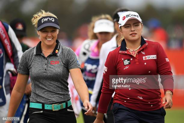 Brooke Henderson of Canada chats with Ha Na Jang of South Korea during round two of the ISPS Handa Women's Australian Open at Royal Adelaide Golf...