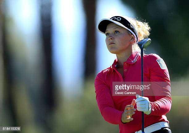 Brooke Henderson of Canada follows her tee shot at the par 3 fifth hole during the first round of the 2016 ANA Inspiration at Mission Hills Country...