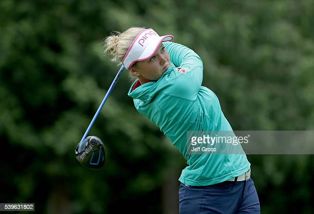 Brooke Henderson of Canada hits a tee shot on the seventh hole during the final round of the KPMG Women's PGA Championship at Sahalee Country Club on...