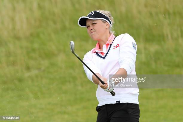 Brooke Henderson of Canada hits an approach shot during the second round of the Ricoh Women's British Open at Kingsbarns Golf Links on August 4 2017...