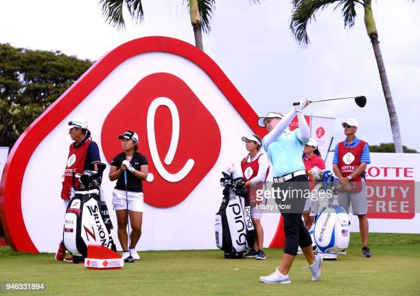 Brooke Henderson of Canada hits driver off the first tee during the fourth round of the LPGA LOTTE Championship at the Ko Olina Golf Club on April 14...