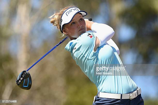 Brooke Henderson of Canada hits her tee shot during day two of the RACV Ladies Masters at Royal Pines Resort on February 26 2016 on the Gold Coast...