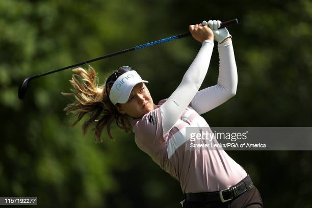 Brooke Henderson of Canada hits her tee shot on the 13th hole during the first round of the KPMG PGA Championship at Hazeltine National Golf Club on...