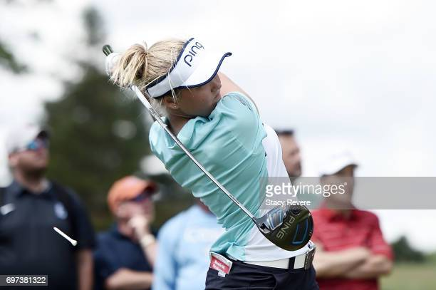 Brooke Henderson of Canada hits her tee shot on the 18th hole during the final round of the Meijer LPGA Classic at Blythefield Country Club on June...