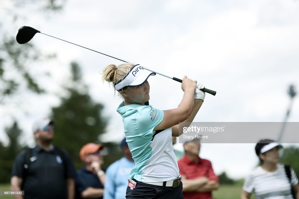 Brooke Henderson of Canada hits her tee shot on the 18th hole during the final round of the Meijer LPGA Classic at Blythefield Country Club on June 18, 2017 in Grand Rapids, Michigan.