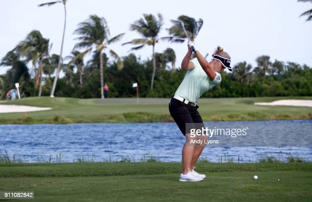 Brooke Henderson of Canada hits her tee shot on the third hole during the second round of the Pure Silk Bahamas LPGA Classic at the Ocean Club Golf...