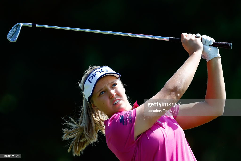 Brooke Henderson of Canada hits on the 2nd hole during the third round of the LPGA Cambia Portland Classic at Columbia Edgewater Country Club on September 1, 2018 in Portland, Oregon.