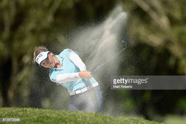 Brooke Henderson of Canada hits out of the bunker during day two of the RACV Ladies Masters at Royal Pines Resort on February 26 2016 on the Gold...