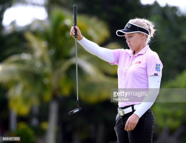 Brooke Henderson of Canada lines up her putt on the 10th green during the second round of the LPGA LOTTE Championship at the Ko Olina Golf Club on...