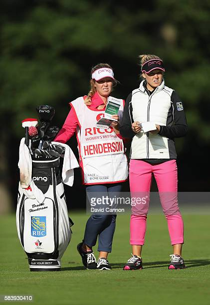 Brooke Henderson of Canada looks down the 3rd hole during the first round of the 2016 Ricoh Women's British Open on July 28 2016 in Woburn England