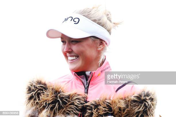 Brooke Henderson of Canada looks on after winning the New Zealand Women's Open at Windross Farm on October 2 2017 in Auckland New Zealand