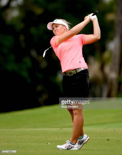 Brooke Henderson of Canada on the 18th hole during the first round of the HSBC Women's Champions on the Tanjong course at Sentosa Golf Club on March...