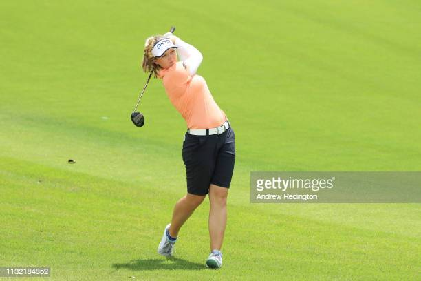 Brooke Henderson of Canada plays a shot during a practice round prior to the HSBC Women's World Championship at Sentosa Golf Club on February 26 2019...