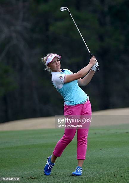 Brooke Henderson of Canada plays a shot on the 16th hole during the second round of the Coates Golf Championship Presented By RL Carriers at Golden...
