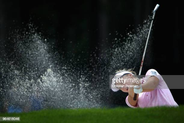 Brooke Henderson of Canada plays from the bunker on the second hole during the first round of the 2018 US Women's Open at Shoal Creek on May 31 2018...