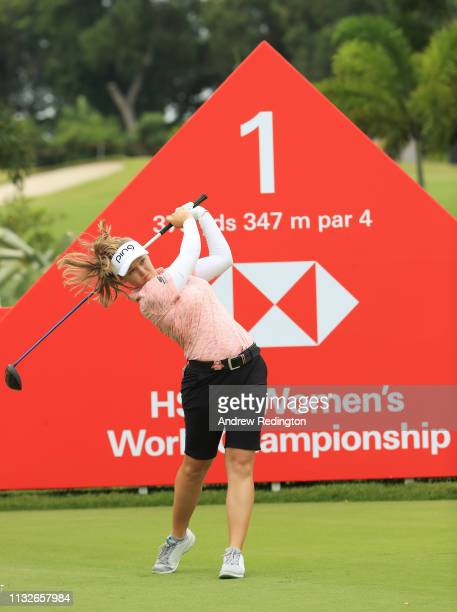Brooke Henderson of Canada plays her shot from the first tee during the first round of the HSBC Women's World Championship at Sentosa Golf Club on...