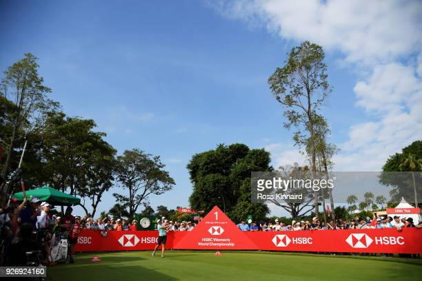 Brooke Henderson of Canada plays her shot from the first tee during the final round of the HSBC Women's World Championship at Sentosa Golf Club on...