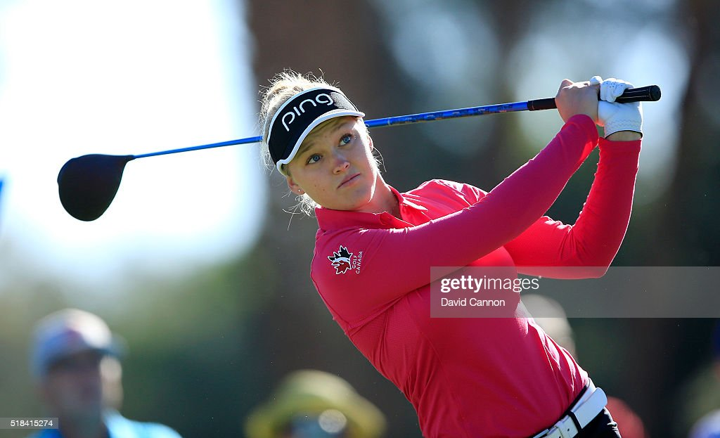 Brooke Henderson of Canada plays her tee shot at the par 4, third hole during the first round of the 2016 ANA Inspiration at Mission Hills Country Club on March 31, 2016 in Rancho Mirage, California.